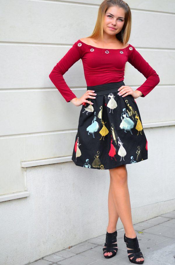 дамска блуза с паднали рамене в цвят бордо