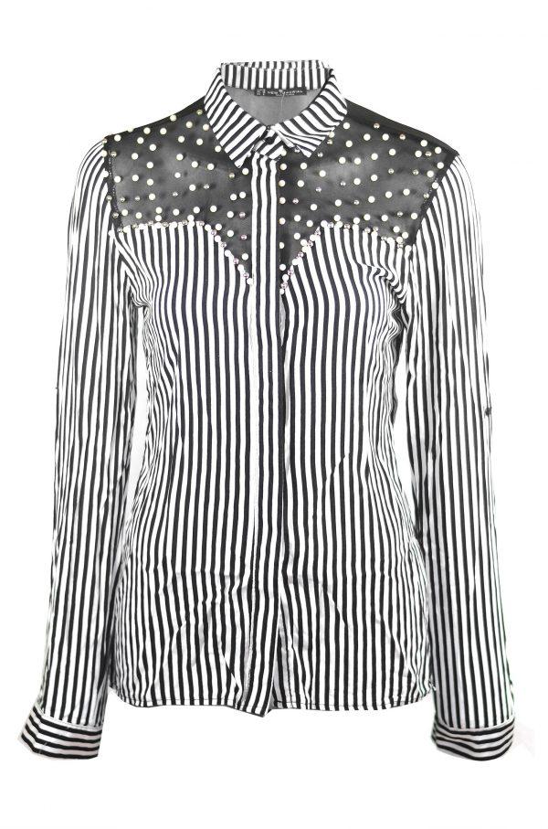 Черно бяла риза с дълъг ръкав на райе с перли
