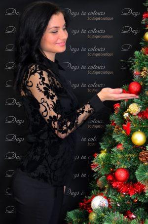 Елегантна черна риза покрита изцяло с черна дантела
