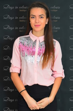Дамска риза в розов цвят с пайети