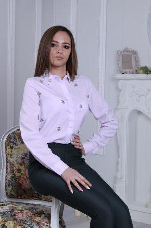 Елегантна дамска риза в розово лилав цвят