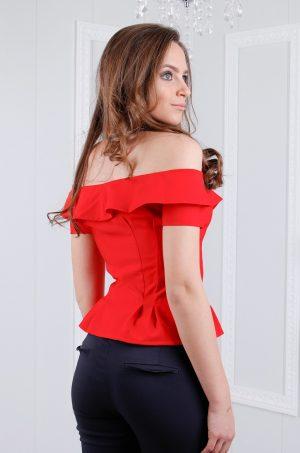Еластичен потник от плат в червен цвят