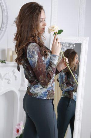 Дамска официална блуза с дълъг ръкав и флорален принт