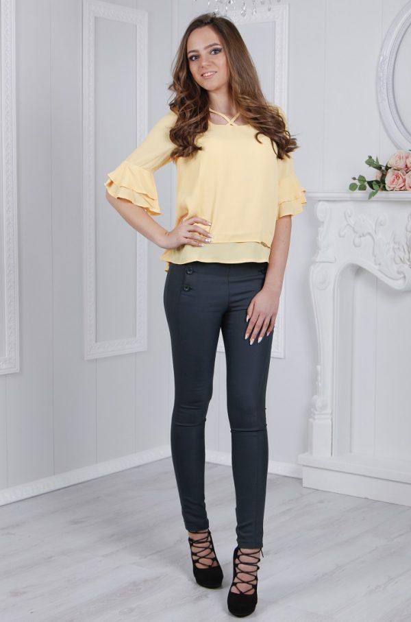 Дамска елегантна блуза с испански ръкави в жълт цвят