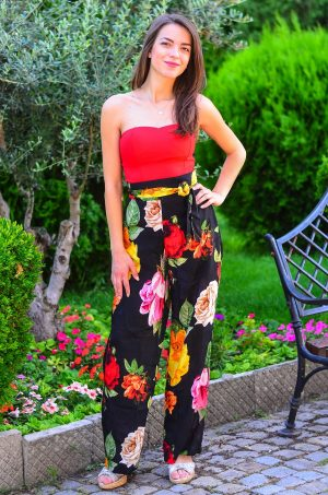 Широк панталон на цветя