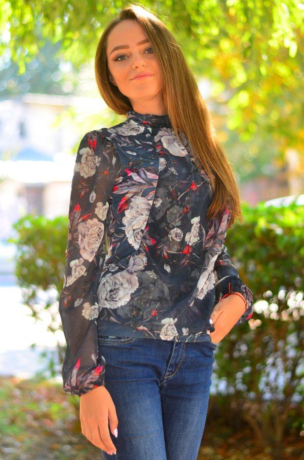 Елегантна дамска блуза с дълъг ръкав на цветя 13122