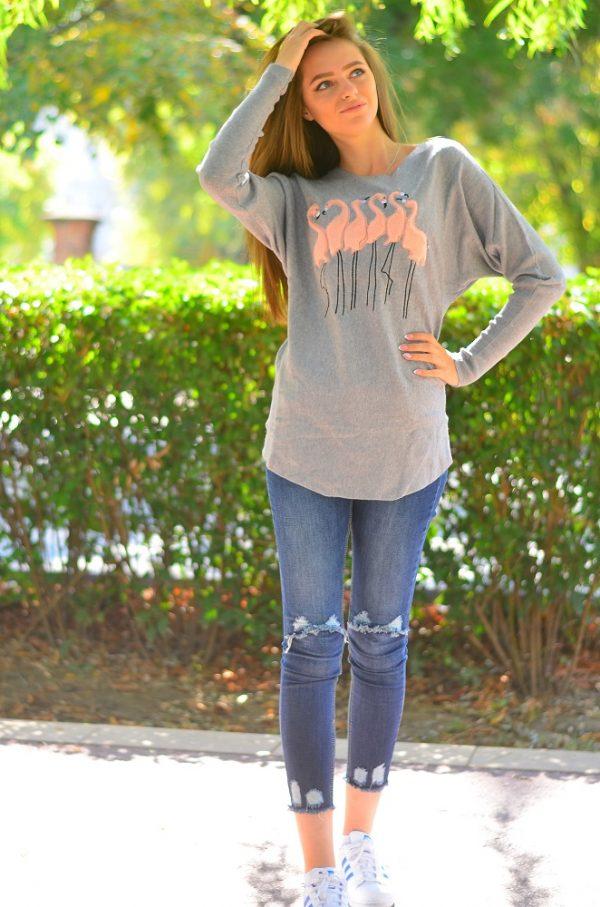 Кашмирна блуза с дълъг ръкав в сив цвят