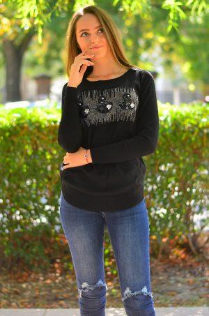 Кашмирна блуза с дълъг ръкав в черен цвят