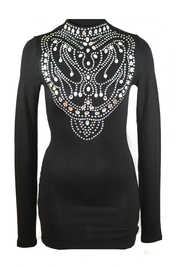 Дамска блуза с перли в черен цвят