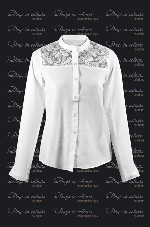 Елегантна бяла риза с дълъг ръкав