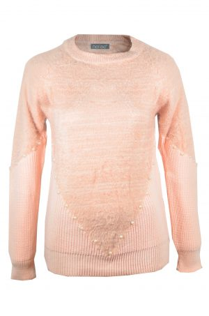 Дамска блуза с дълъг ръкав в цвят бебешко розово