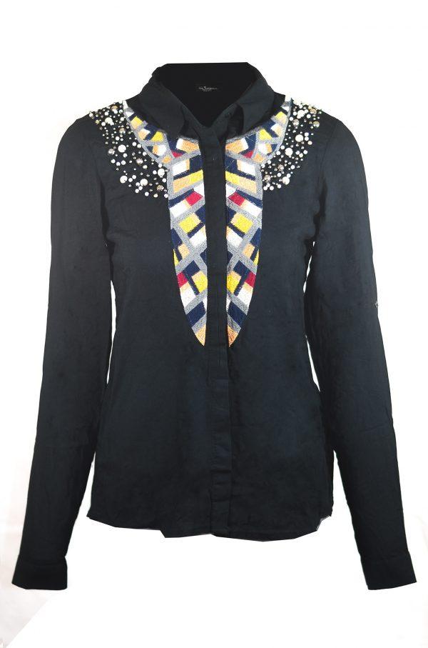 Черна дамска риза с перли
