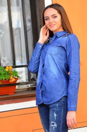 Дамска дънкова риза с перли