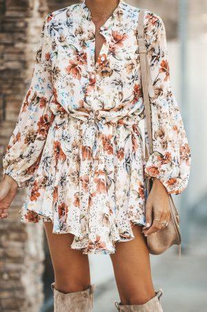 Ежедневна дамска рокля с флорален принт