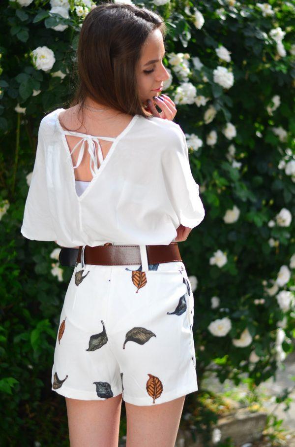 Комплект къси панталонки блуза и колан