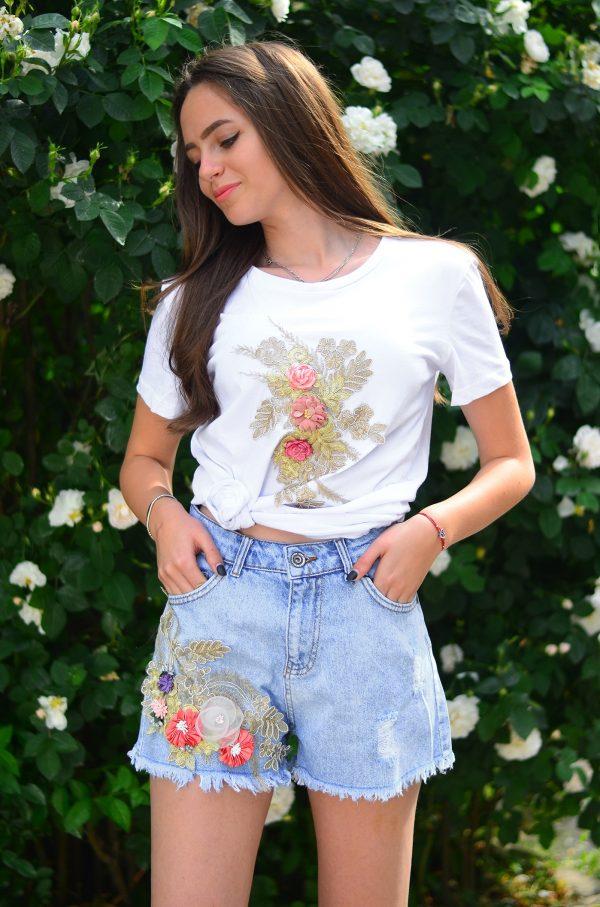 Комплект тениска и къси дънкови панталонки