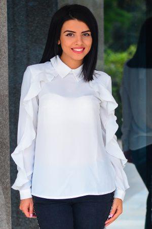 Дамска елегантна блуза в бял цвят
