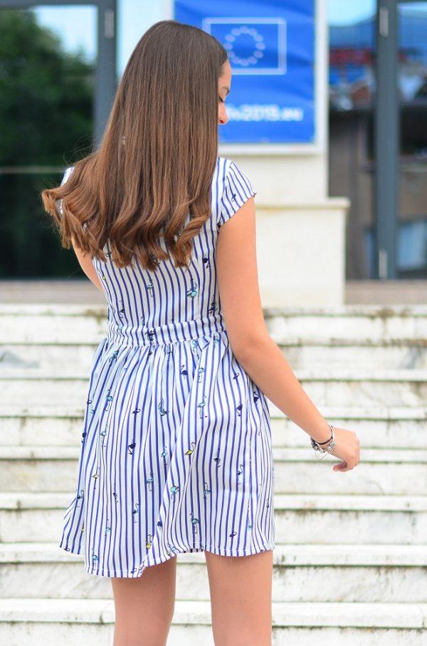 Разкроена дамска рокля с летен принт